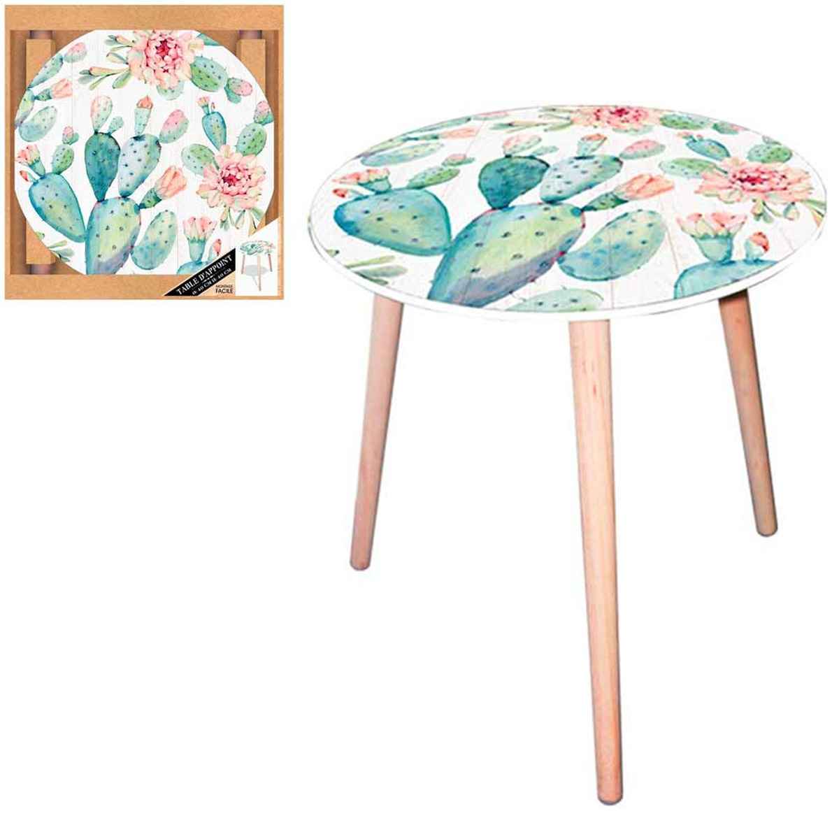 Table ronde résine \'Cactus\' vert blanc - 40 cm - [Q5144]