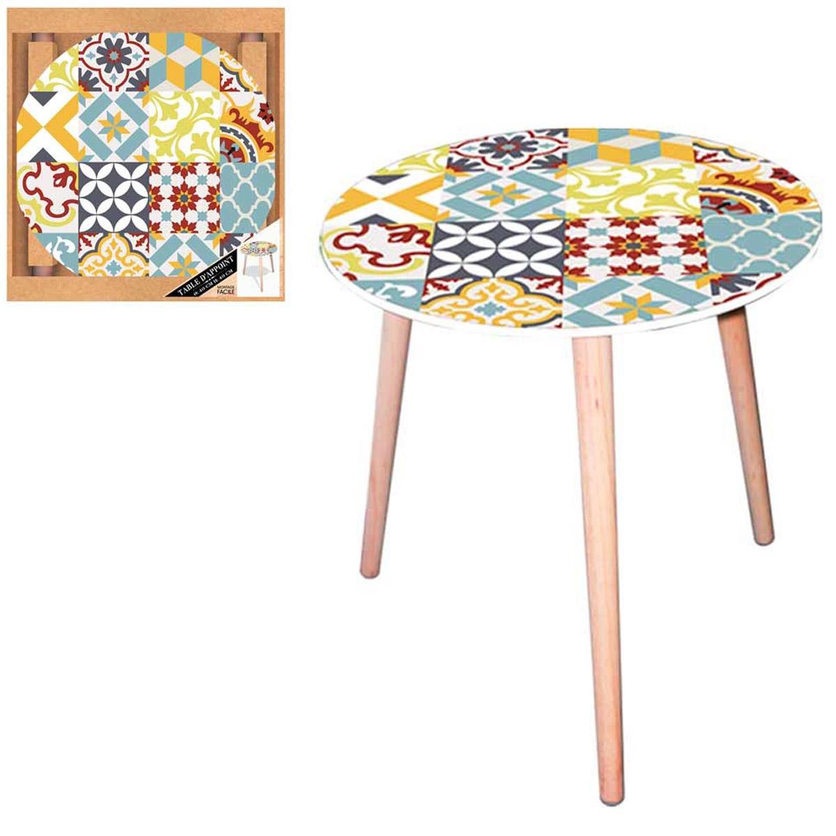 Table ronde résine \'Boho\' multicolore (carreaux de mosaïque) - 40 cm - [Q5145]