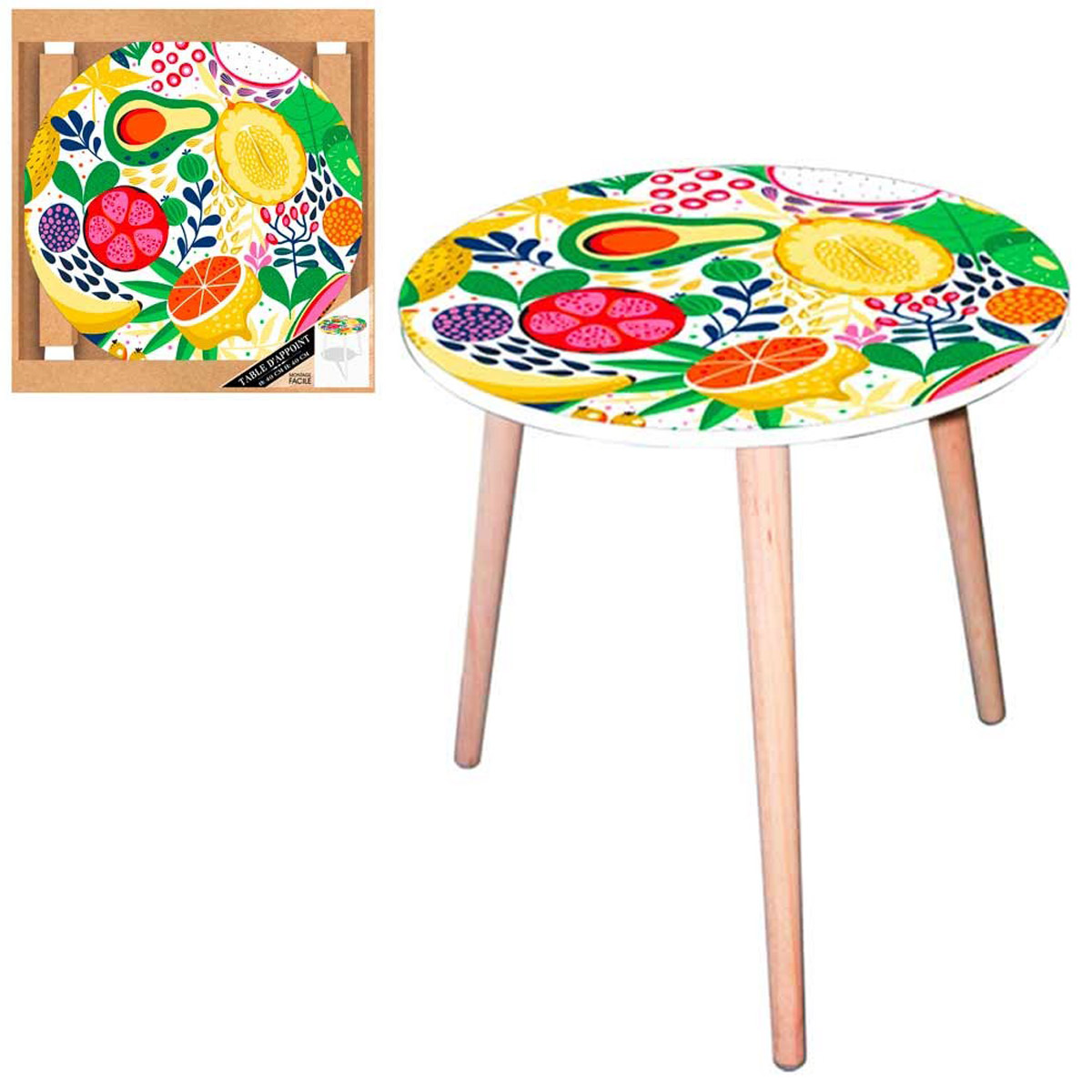 Table ronde résine \'Cocktail de Fruits\' multicolore - 40 cm - [Q5146]
