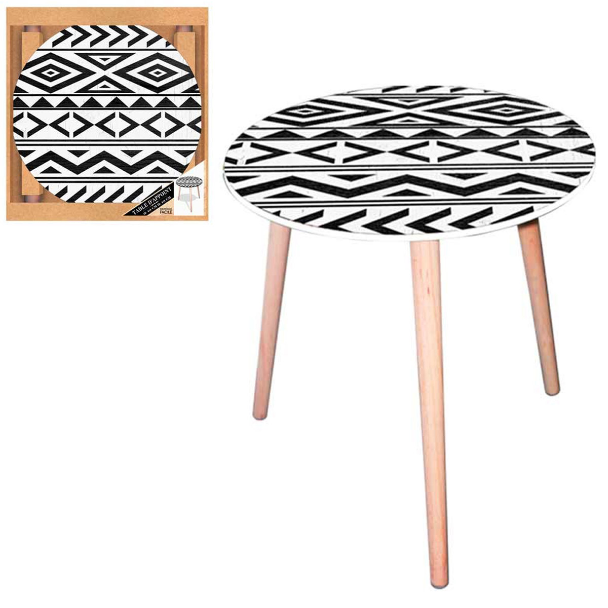 Table ronde résine \'Boho\' blanc noir (tribal) - 40 cm - [Q5147]