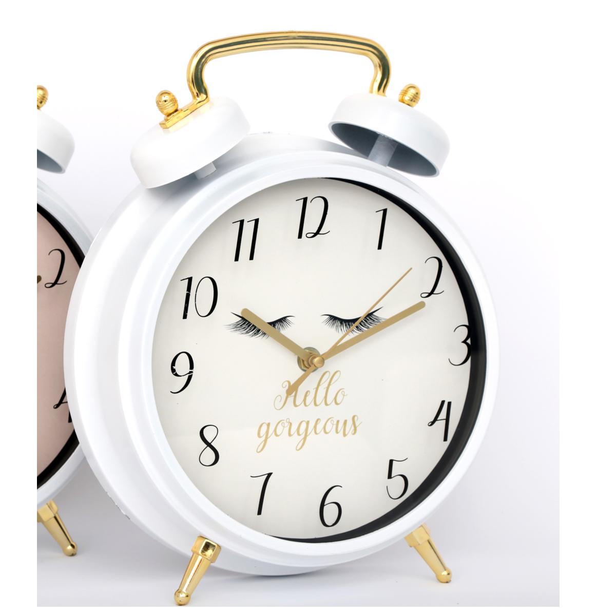 Réveil Cloche géant \'Diva - Yeux Endormis\' blanc (Hello gorgeous) -30x25x7 cm - [R0854]