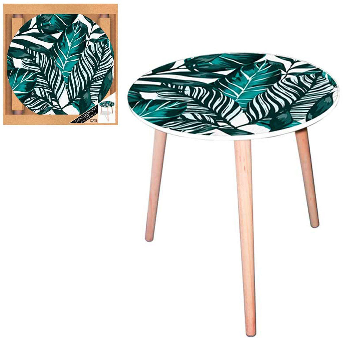 Table ronde résine \'Tropical\' vert (fleurs tropicales) - 40 cm - [Q5150]