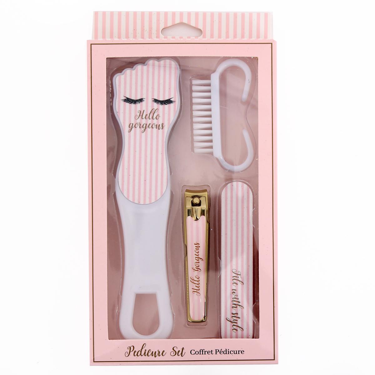 Coffret pedicure \'Diva - Yeux Endormis\' rose (5 outils) - 213x113x2 cm - [R0856]