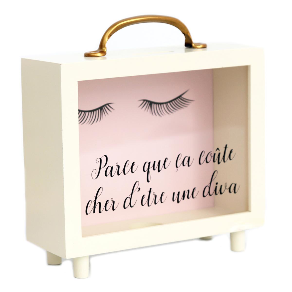 Tirelire valise bois \'Diva - Yeux Endormis\' beige rose (Parce que ça coûte cher d\'être une diva) - 20x16x7 cm - [R0858]