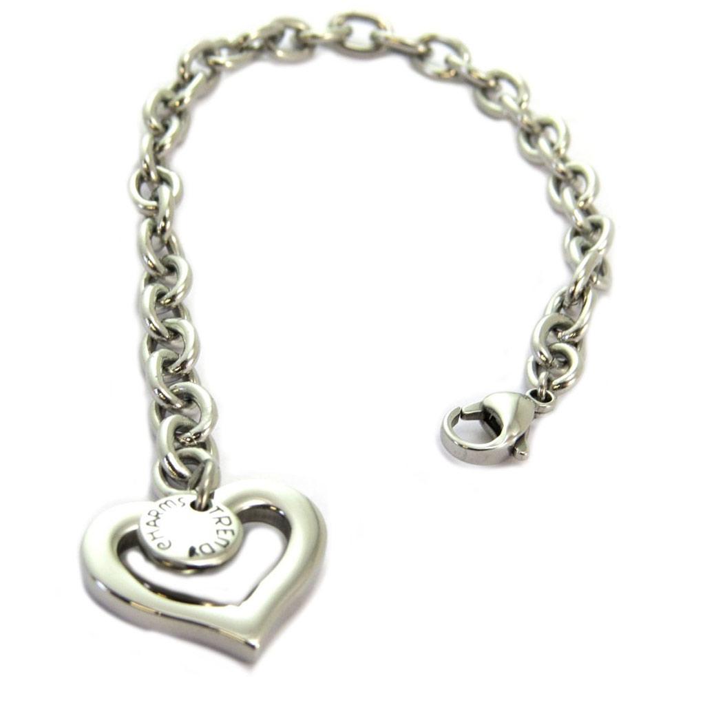 Bracelet acier \'Maille Jaseron\' argenté (love) - 20x15 mm - [P5597]