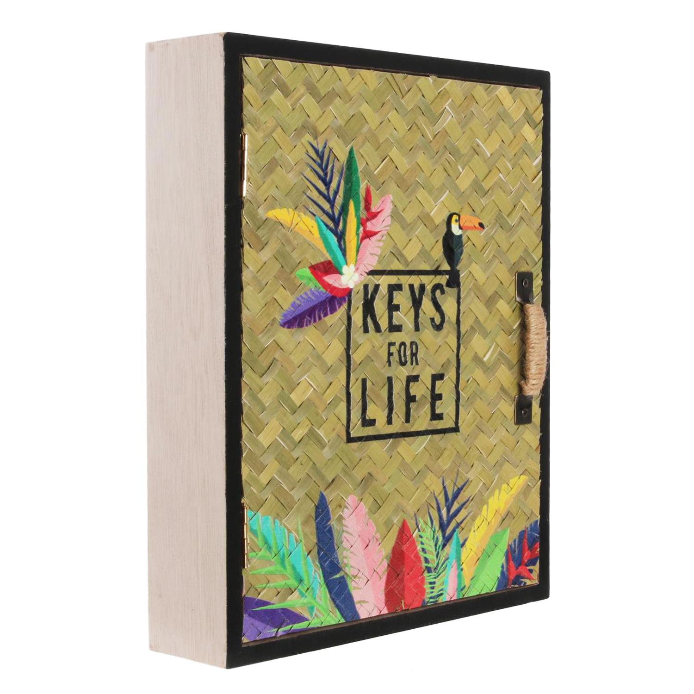Boite à clés bois \'Tropical\' beige (Keys for life)(6 crochets) - 25x20x5 cm - [Q3280]