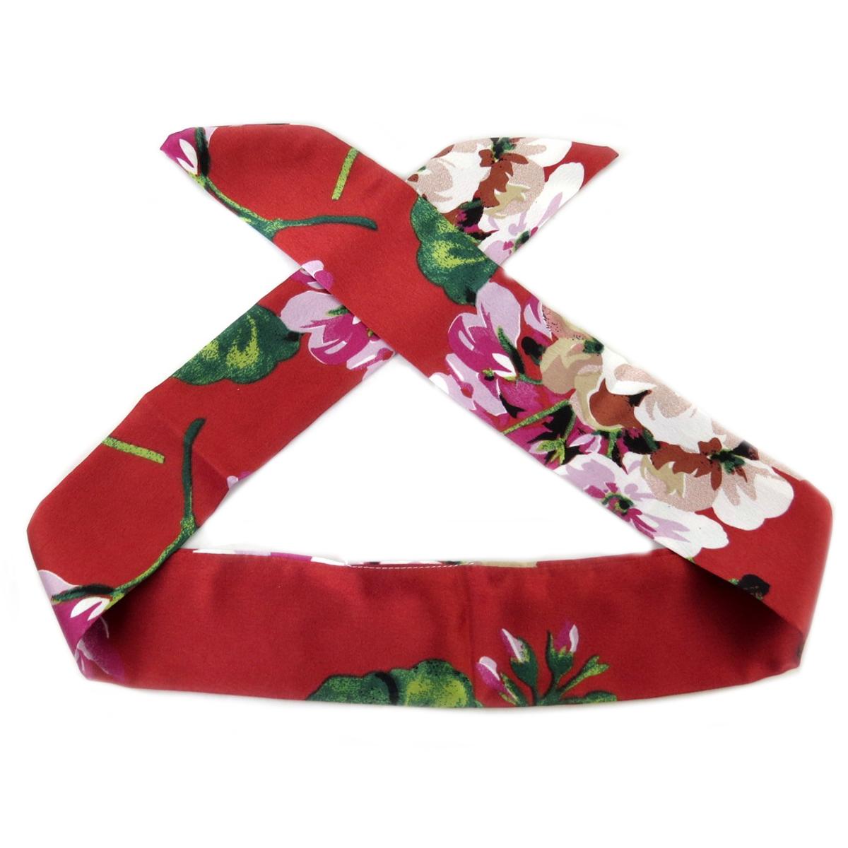 Bandeau créateur \'Tokyo\' rouge vert (rosa romantica) - 93x5 mm - [Q0124]