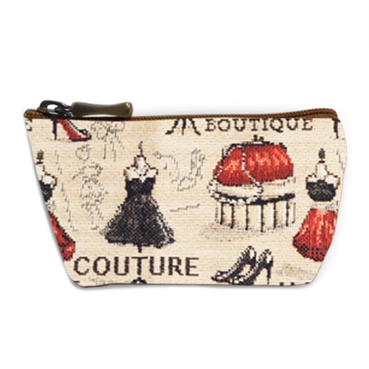 Porte-monnaie artisanal \'Royal Tapisserie\' beige rouge (Maison de Couture)  - 12x8x4 cm - [Q6360]