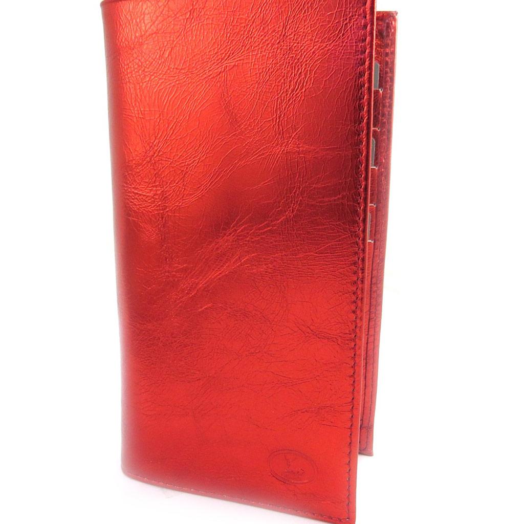 Porte-chéquier Cuir \'Frandi\' rouge métal - [L5897]
