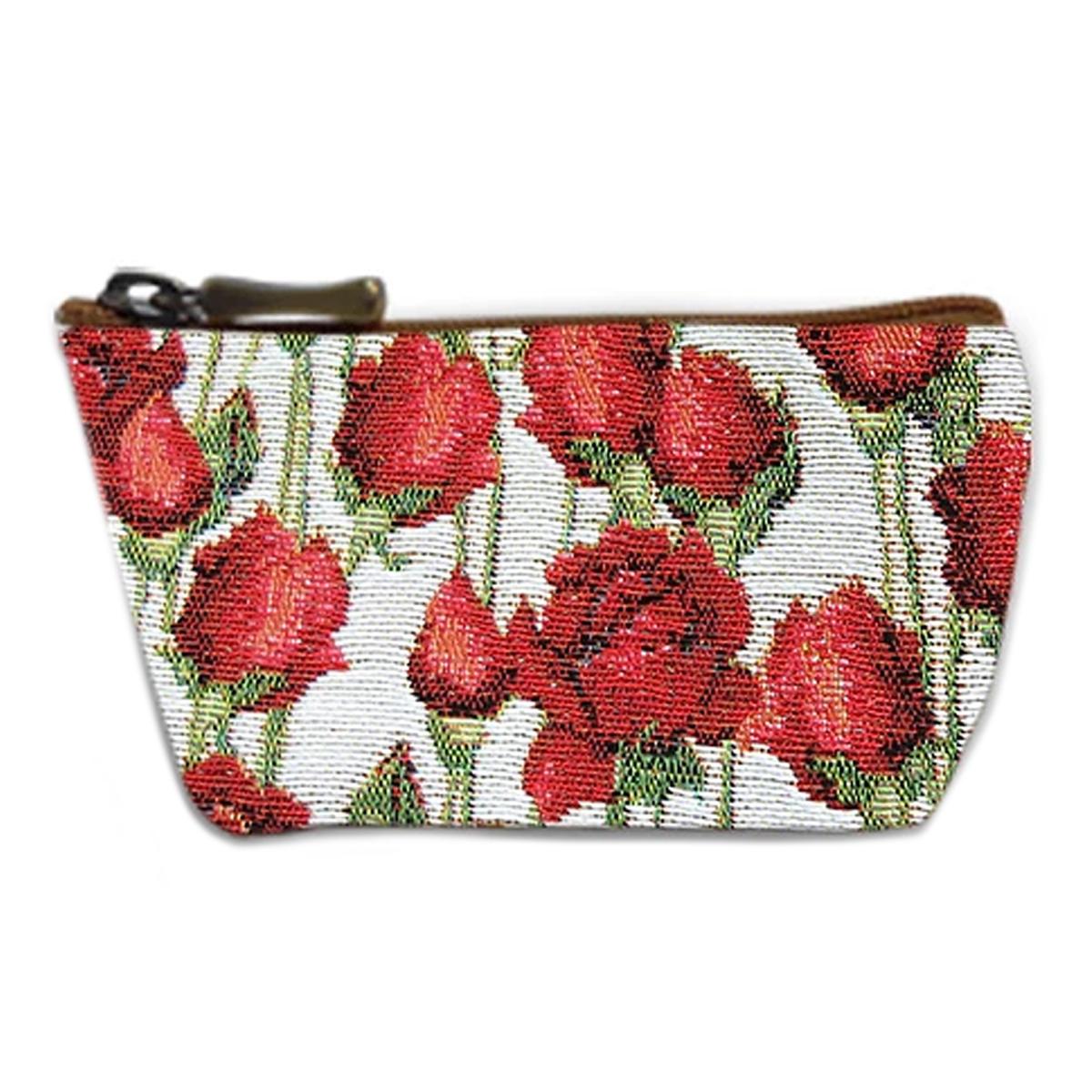 Porte-monnaie artisanal \'Royal Tapisserie\' blanc rouge (roses rouges)  - 12x8x4 cm - [Q6361]