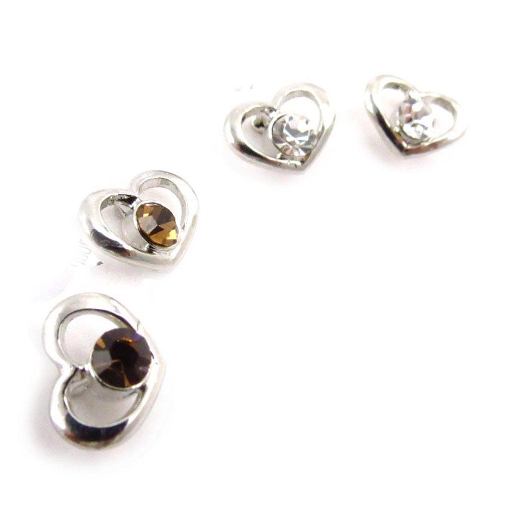 2 paires de boucles \'Love\' ambre blanc - [J6676]