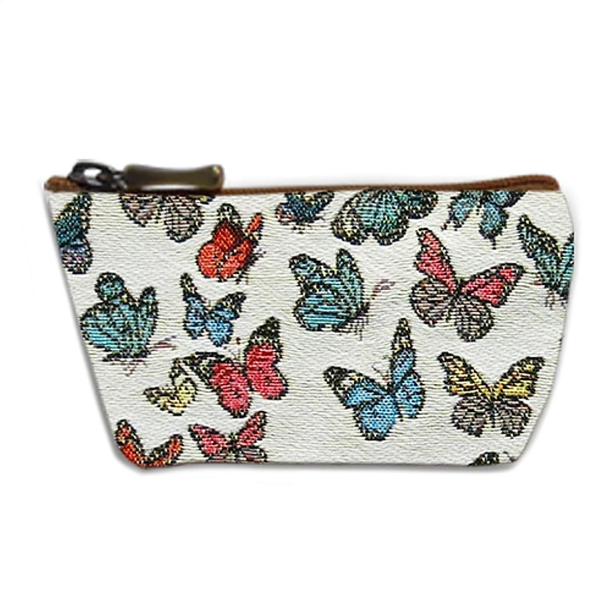 Porte-monnaie artisanal \'Royal Tapisserie\' blanc multicolore (papillons)  - 12x8x4 cm - [Q6362]
