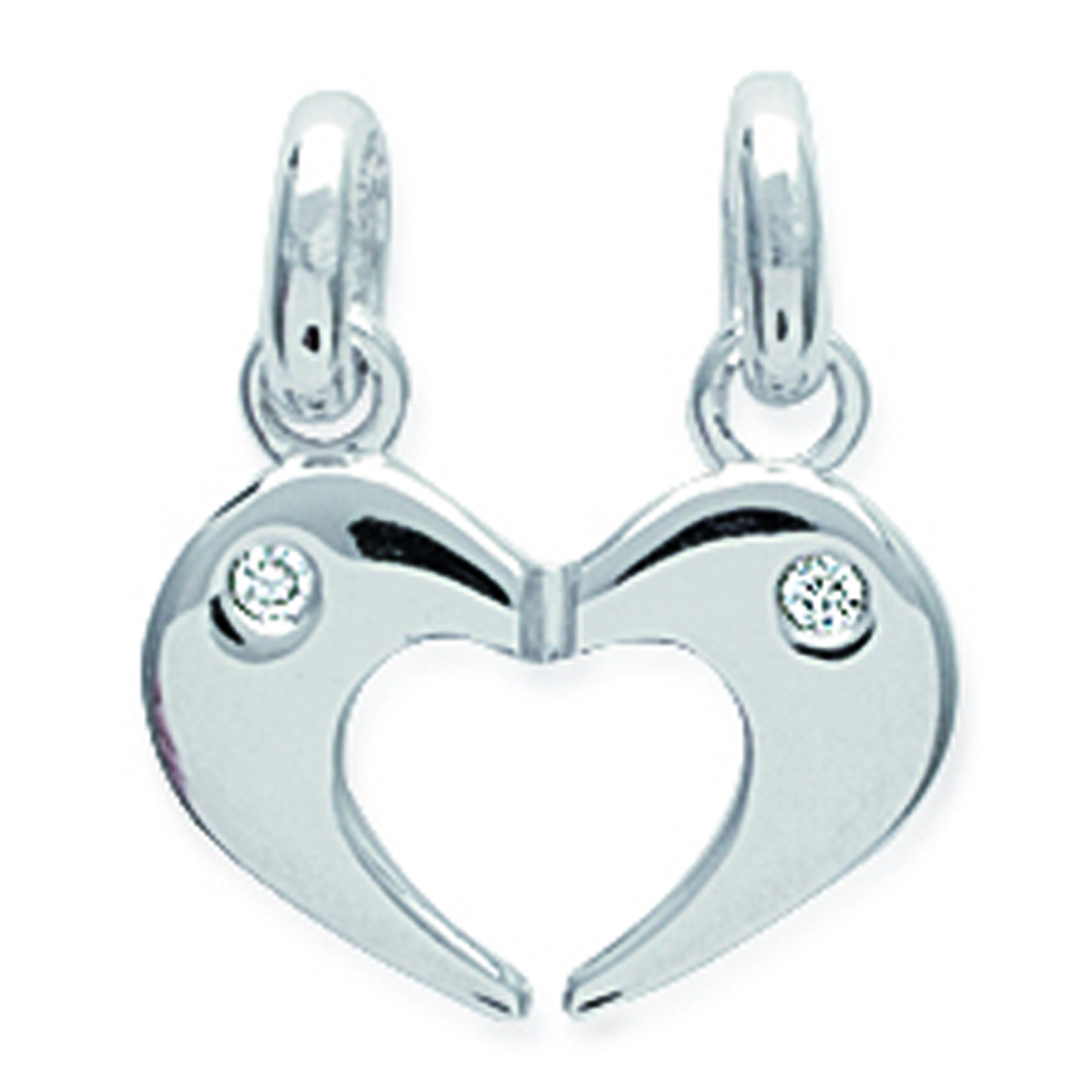 Pendentif Argent \'Love\' blanc argenté (rhodié) sécable - 15x14 mm - [J2054]