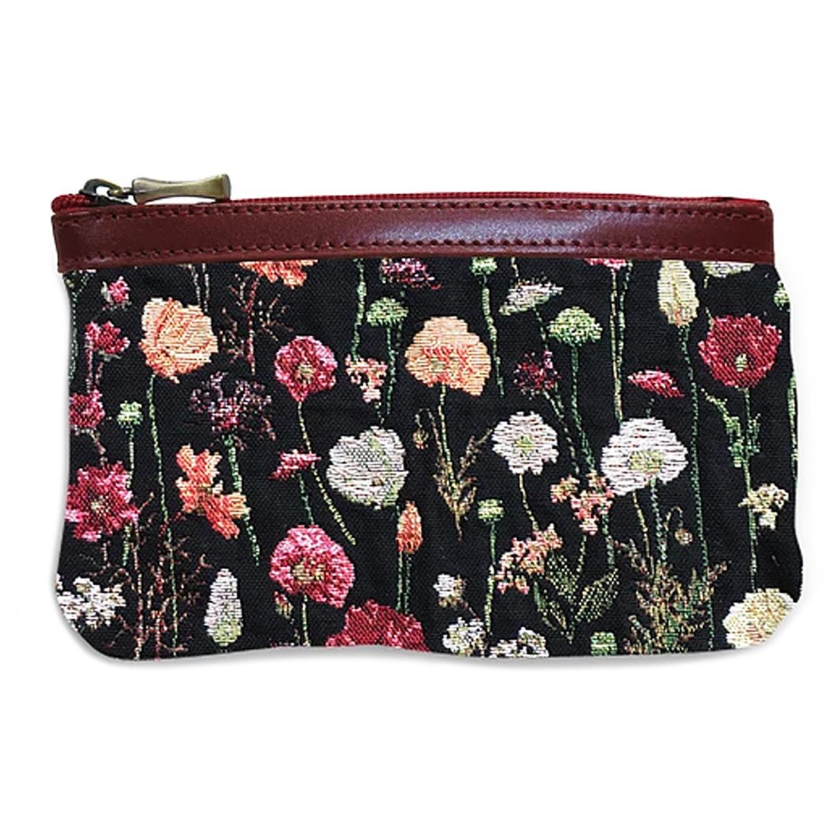 Pochette trousse artisanale \'Royal Tapisserie\' noir multicolore (fleurs en hiver) - 14x10x2 cm - [Q6366]