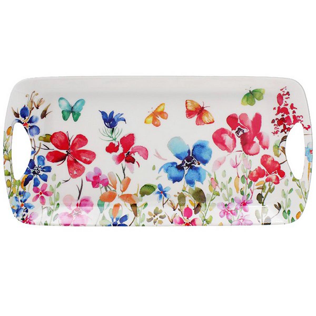 Plateau à cake mélamine \'Butterfly Meadow\' blanc multicolore - 405x20x3 cm - [A0191]