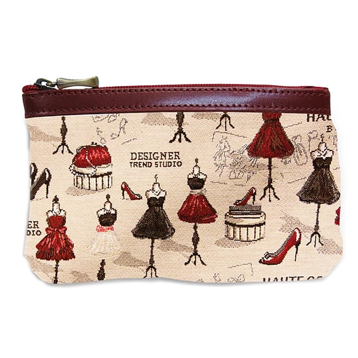 Pochette trousse artisanale \'Royal Tapisserie\' beige rouge (Maison de Couture) - 14x10x2 cm - [Q6367]
