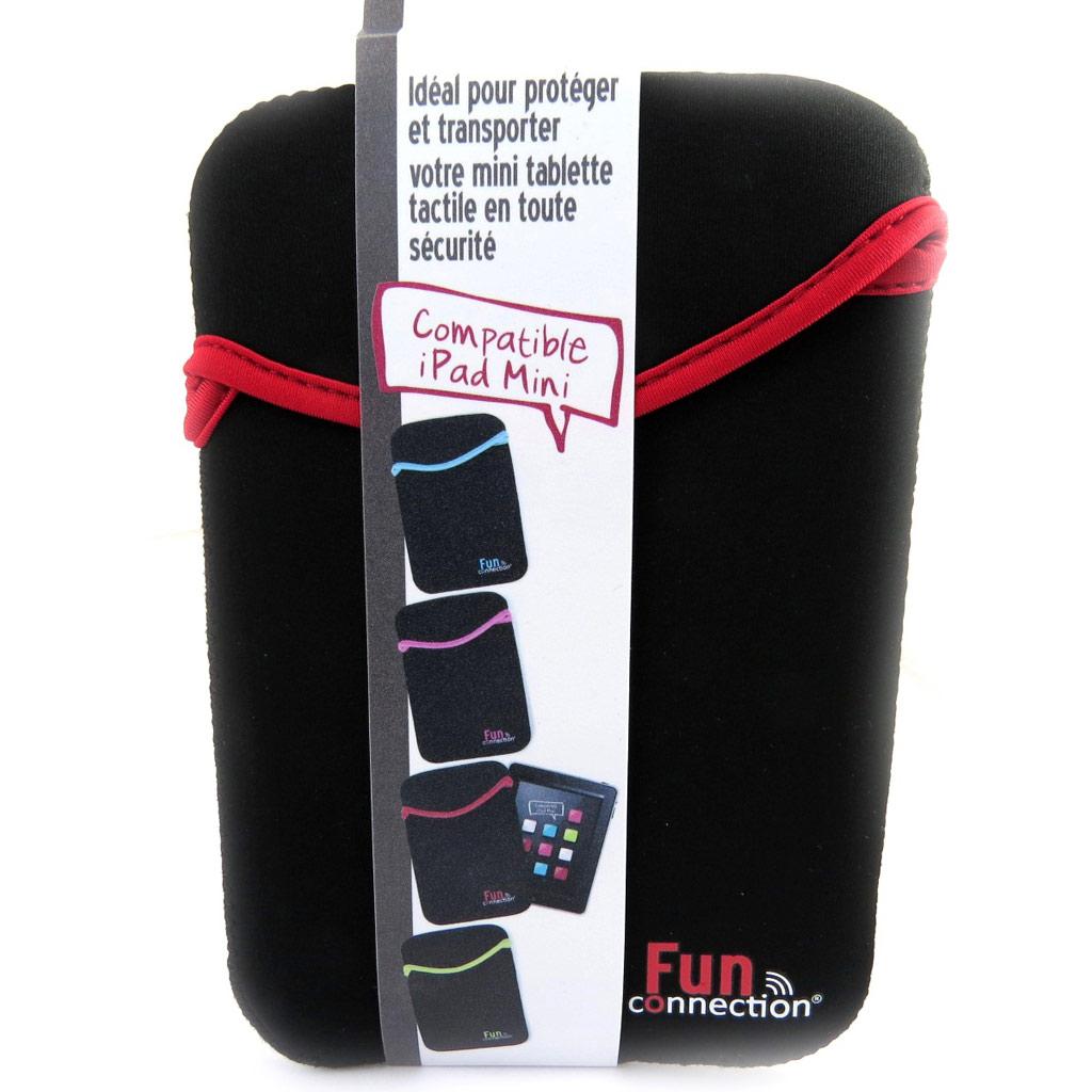 Etui mini tablette \'Indispensable\' noir rouge (néoprène) - [L9310]