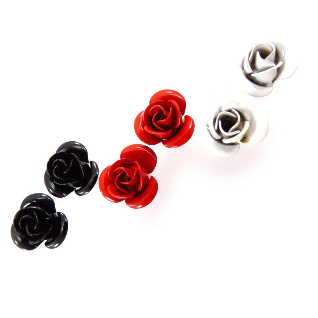 3 paires de boucles \'Rosa Romantica\' noir rouge blanc - [J6695]