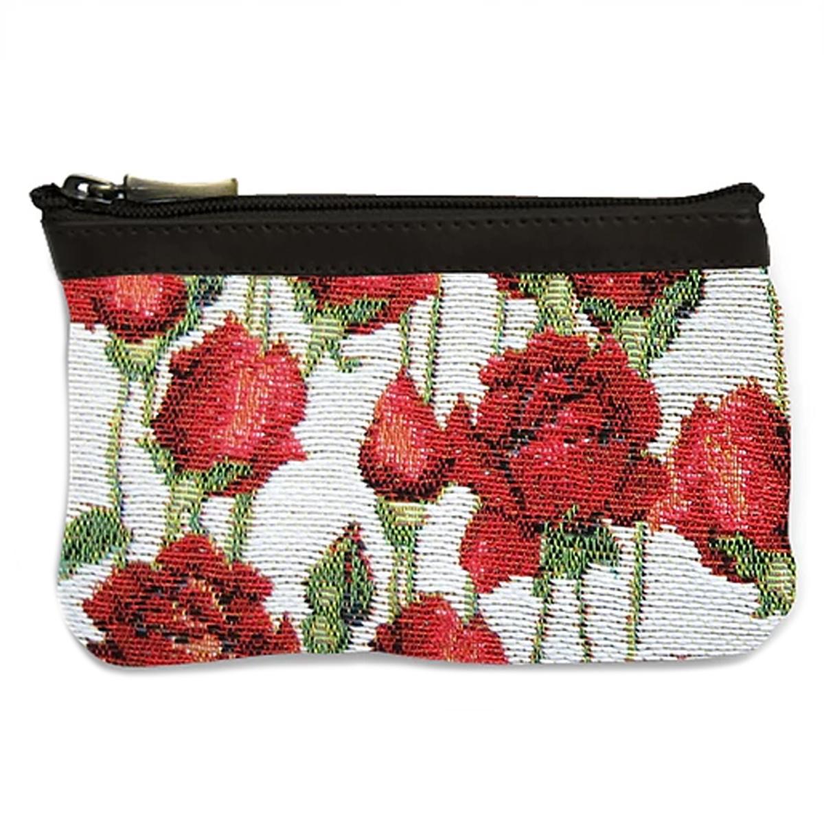 Pochette trousse artisanale \'Royal Tapisserie\' blanc rouge (roses rouges) - 14x10x2 cm - [Q6368]