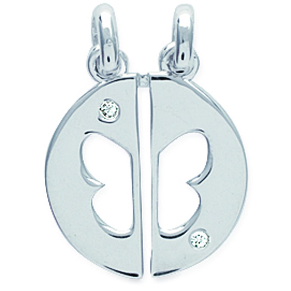 Pendentif argent \'Papillon\' blanc argenté (rhodié) sécable - 21x16 mm - [J2058]
