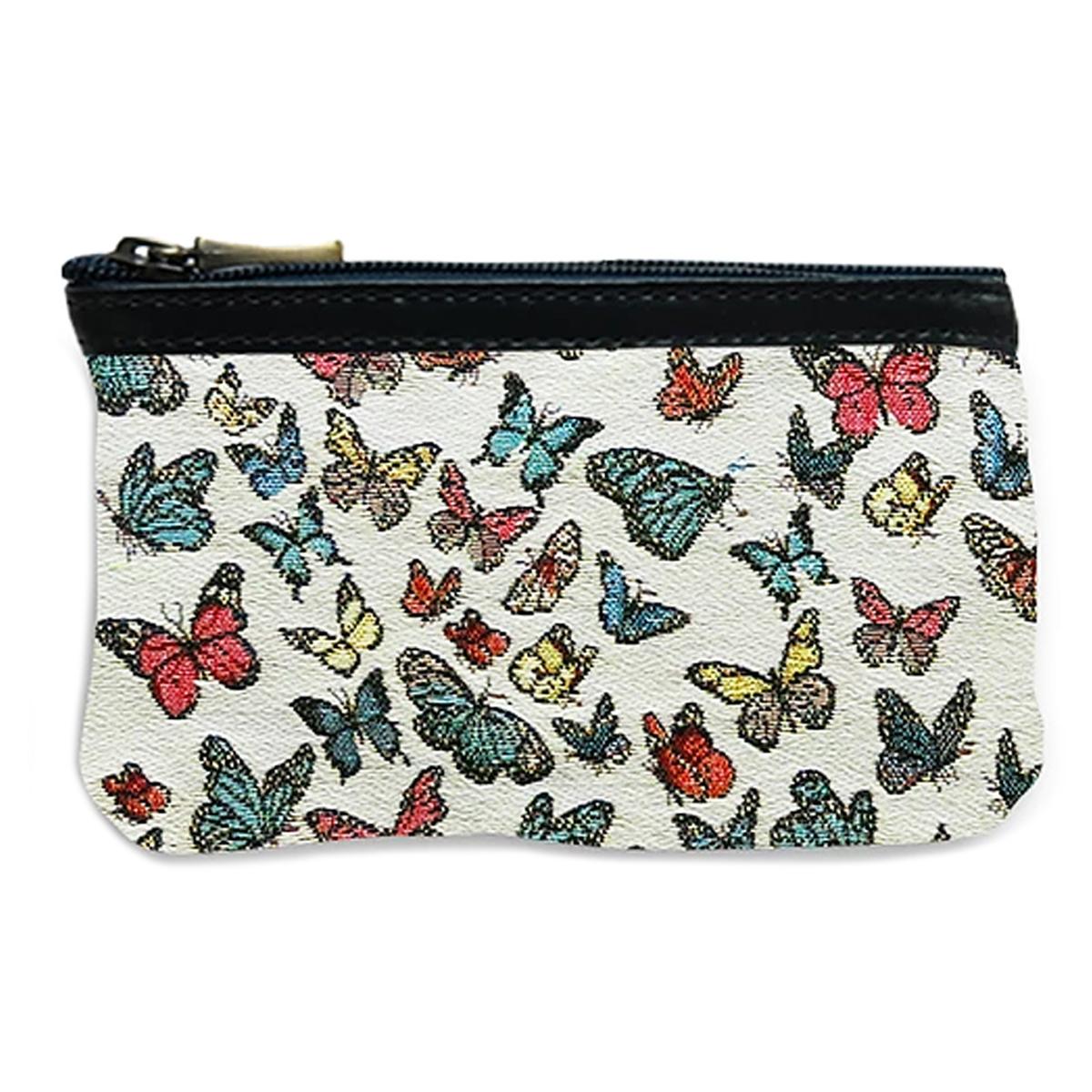 Pochette trousse artisanale \'Royal Tapisserie\' blanc multicolore (papillons) - 14x10x2 cm - [Q6369]