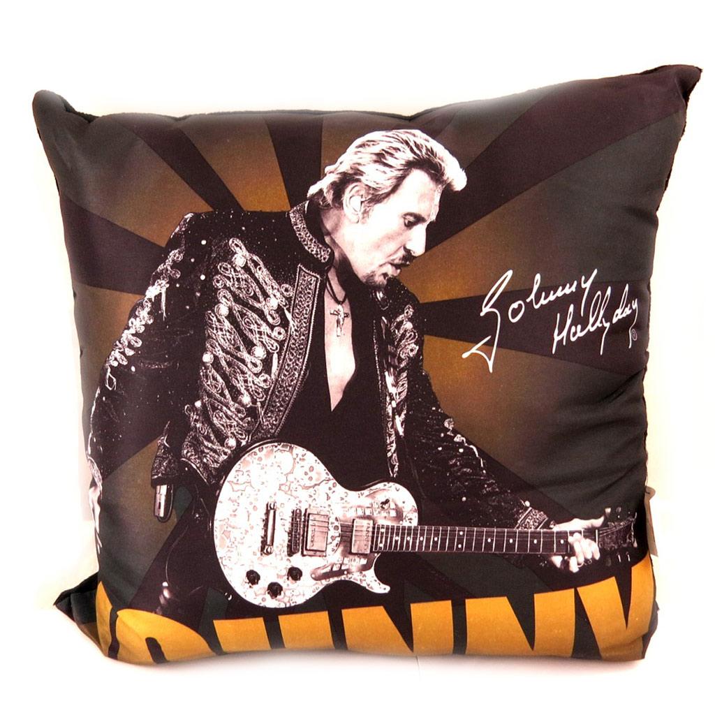 Coussin déco \'Johnny Hallyday\' à la guitare (marron) - 32 cm - [L6040]