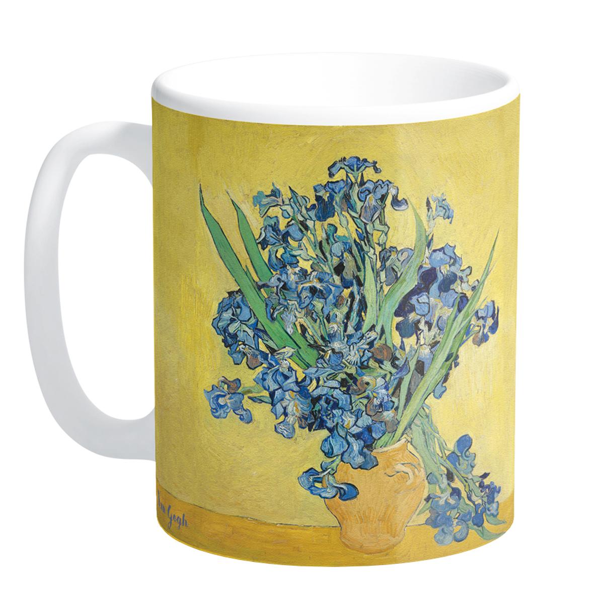 Mug céramique \'Vincent Van Gogh\' (Les Iris sur fond jaune) - 95x8 cm - [Q9263]