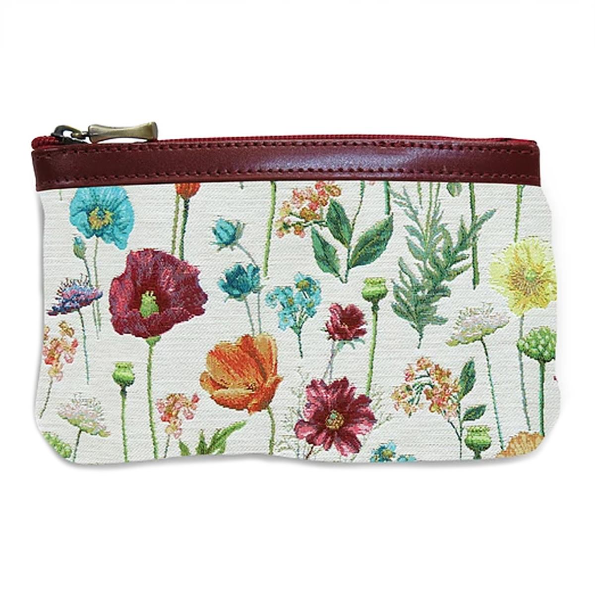 Pochette trousse artisanale \'Royal Tapisserie\' blanc multicolore (fleurs des champs) - 14x10x2 cm - [Q6371]