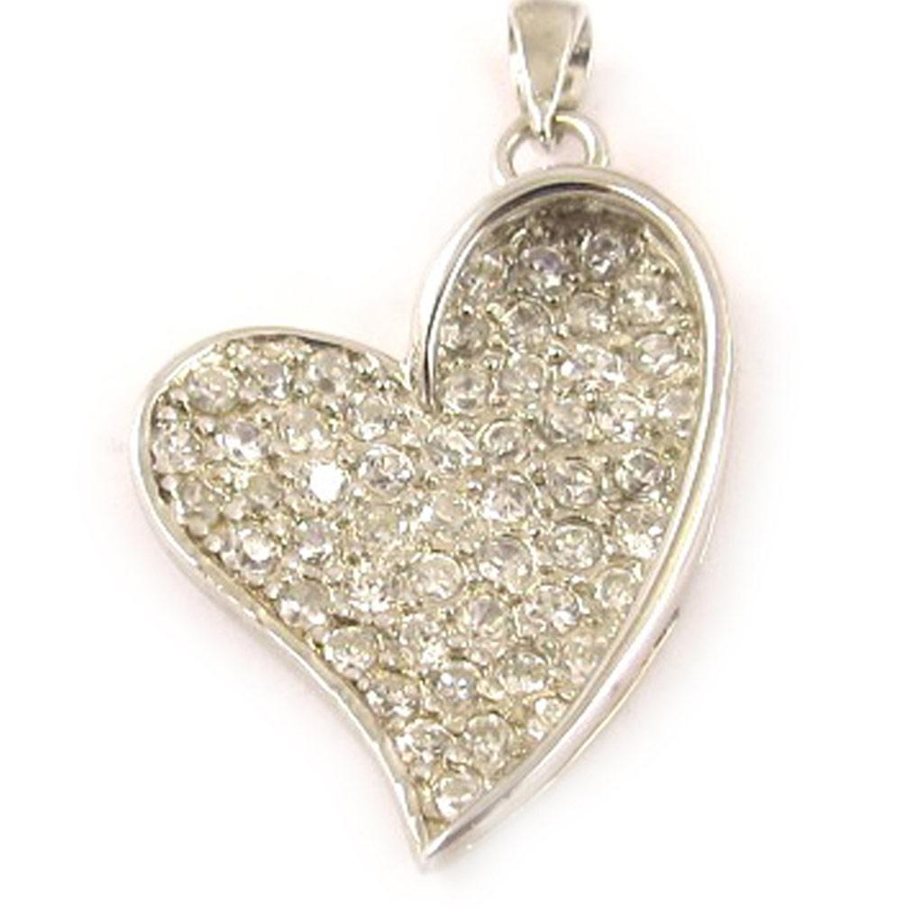 Pendentif Argent \'Love Diamonds\' Blanc  - [D0450]