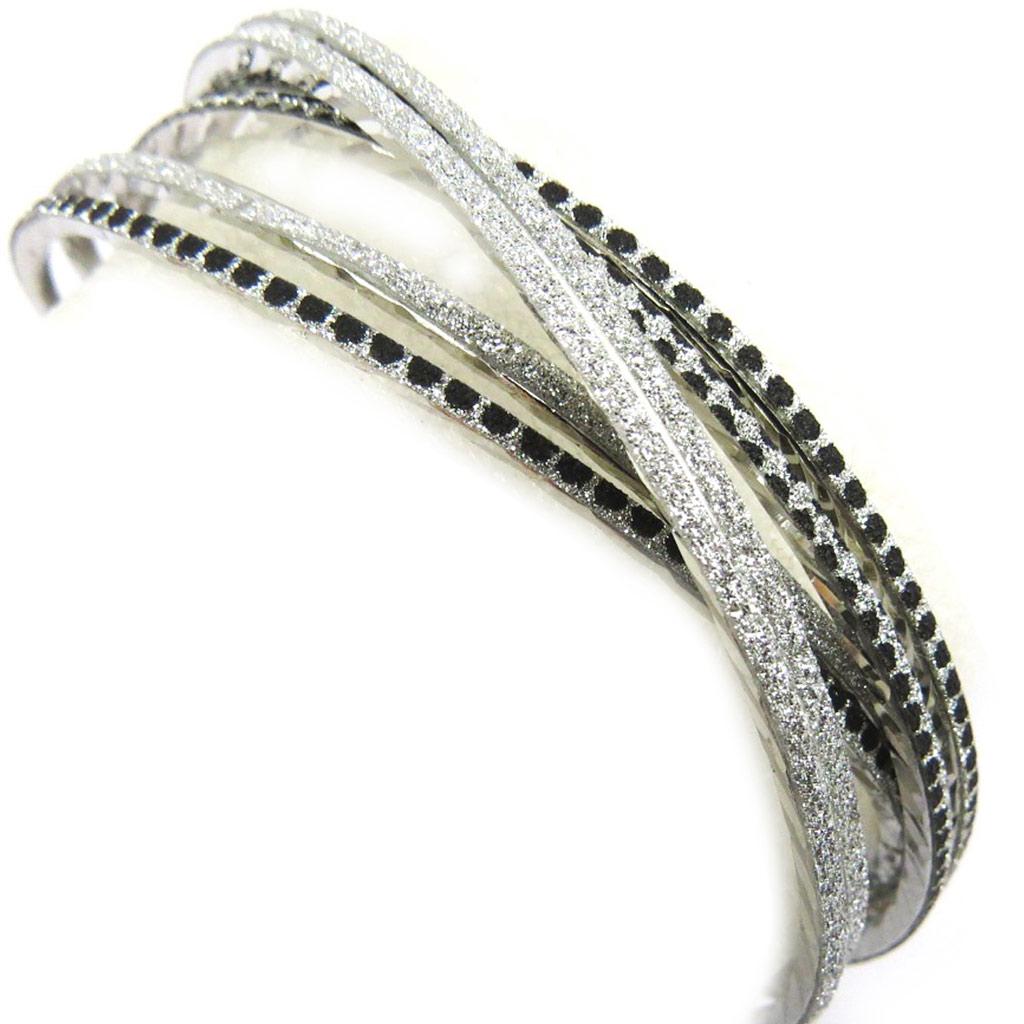 Bracelet \'Scarlett\' noir argenté - [L6055]