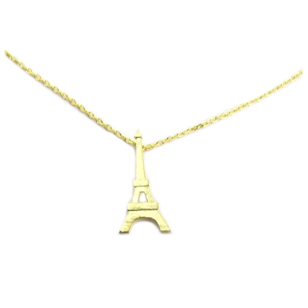 Collier artisanal \'Tour Eiffel\' doré - 20x9 mm - [P6968]