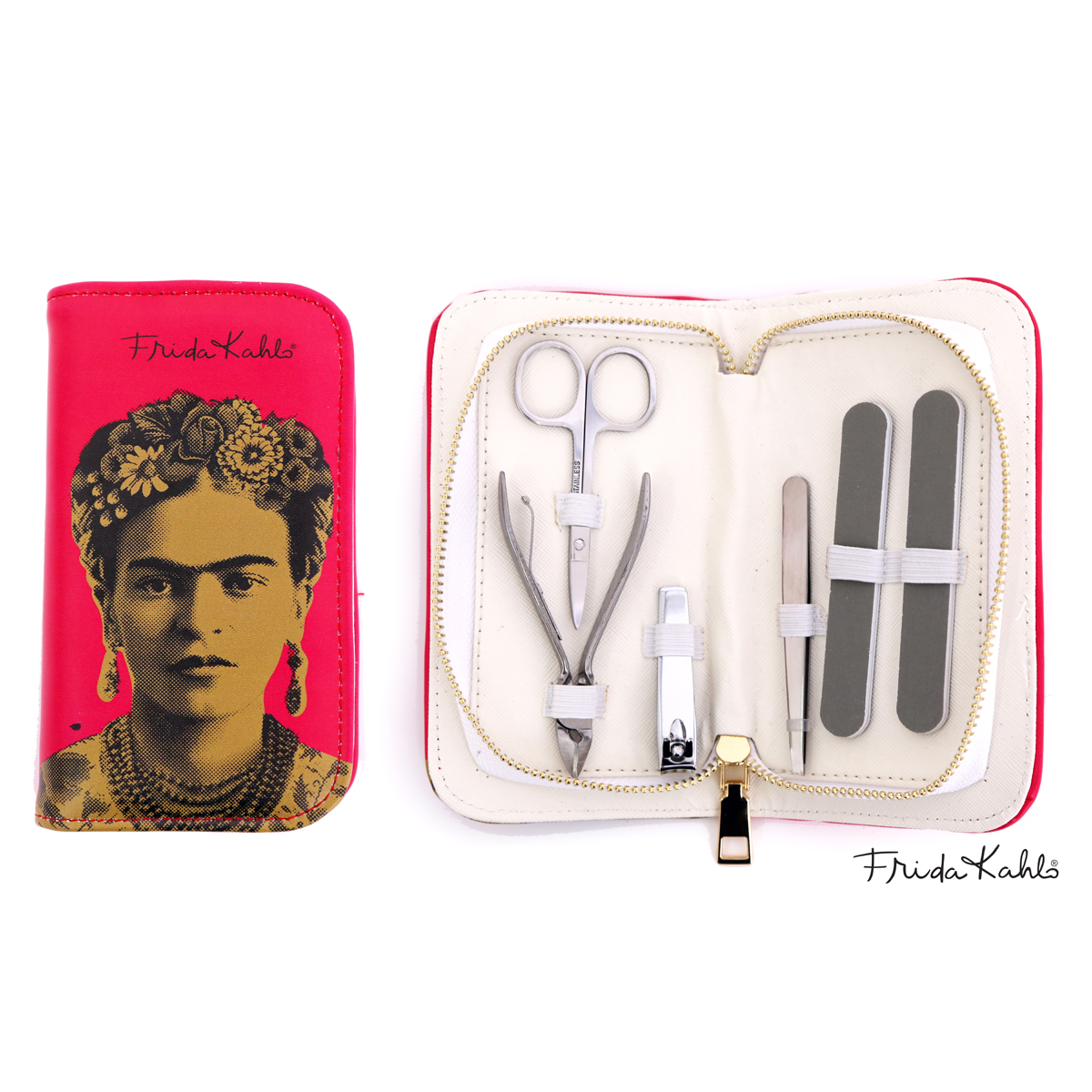 Trousse manucure \'Frida Kahlo\' rose (6 outils) - 16x9x3 cm  - [R0908]