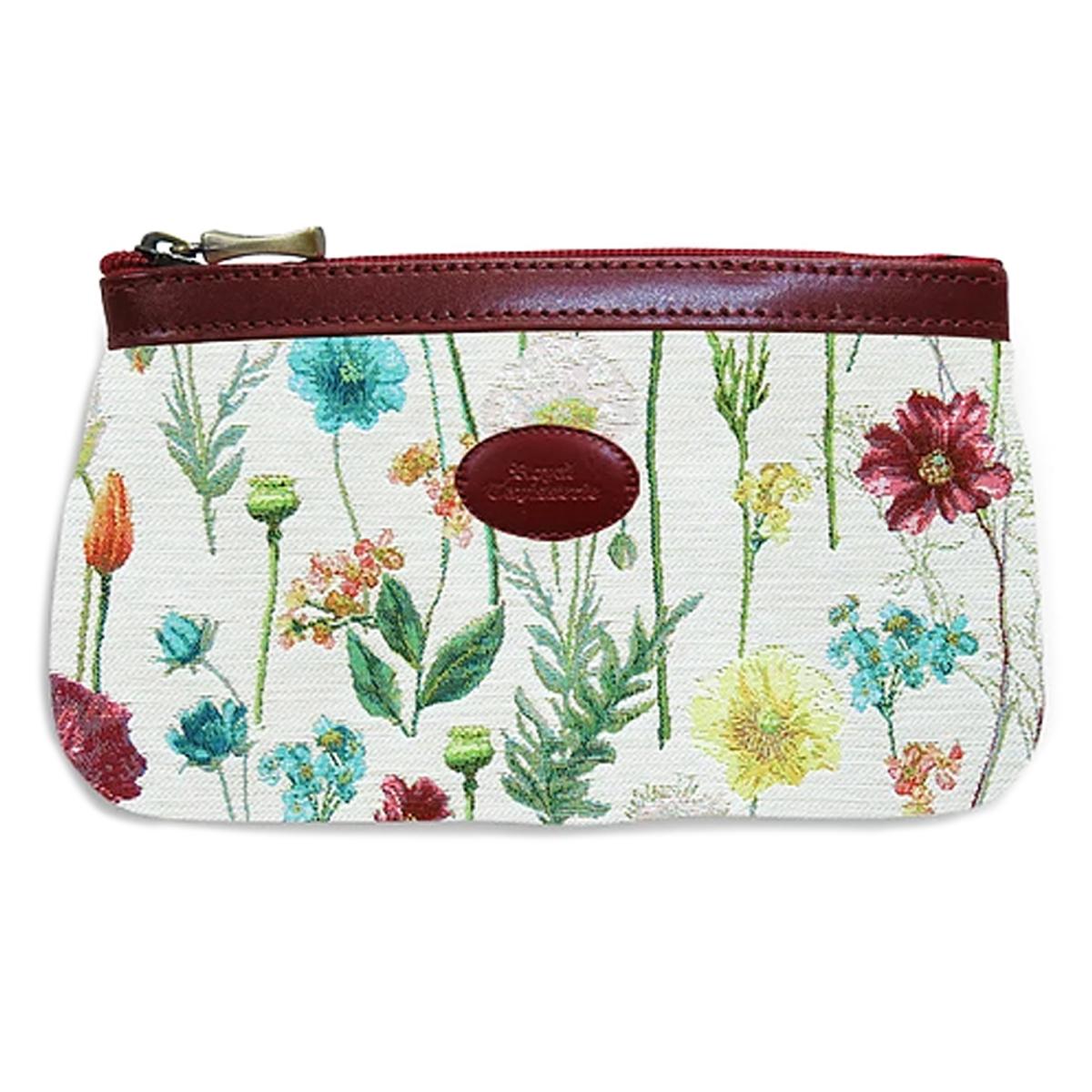 Pochette trousse artisanale \'Royal Tapisserie\' blanc multicolore (fleurs des champs)  - 18x12x3 cm - [Q6384]