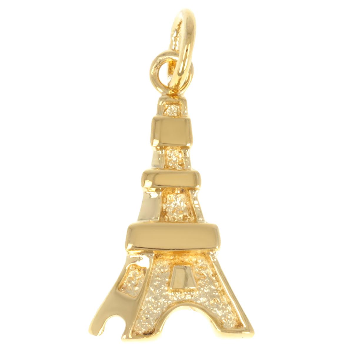 Pendentif Plaqué Or \'Tour Eiffel\' doré - 20x12 mm - [Q3314]
