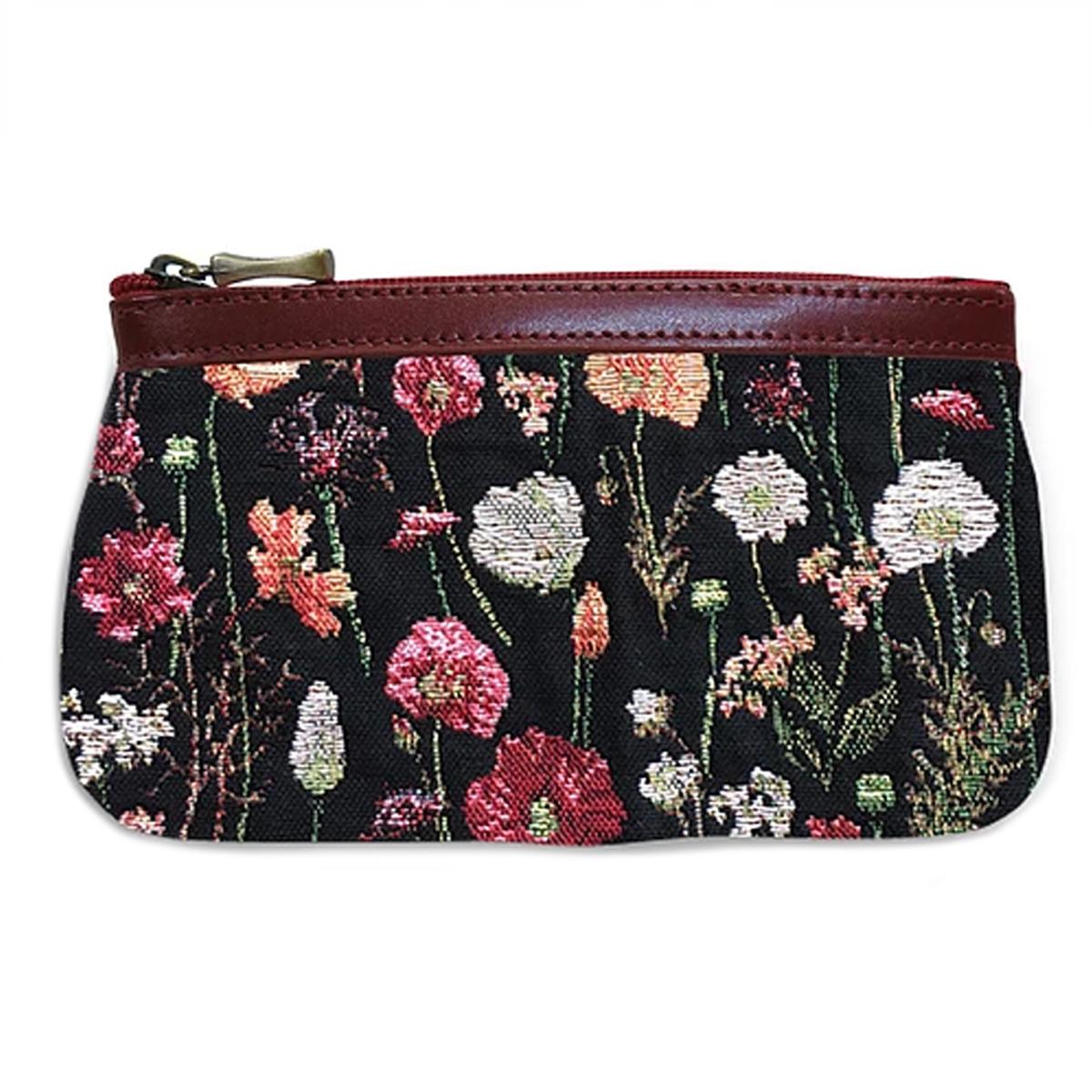 Pochette trousse artisanale \'Royal Tapisserie\' noir multicolore (fleurs en hiver)  - 18x12x3 cm - [Q6385]