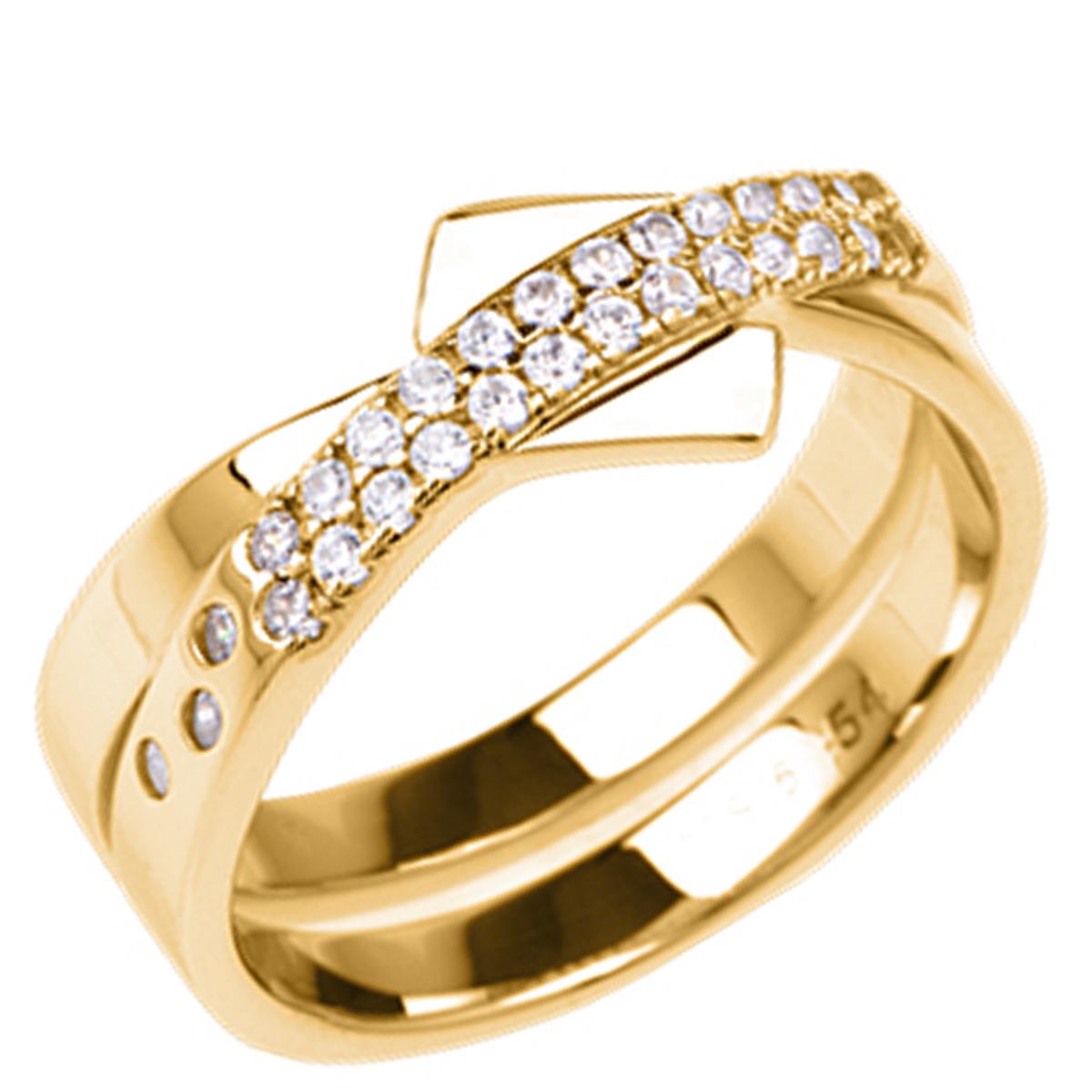 Bague plaqué or \'Sissi\' blanc doré - 8 mm - [Q7922]
