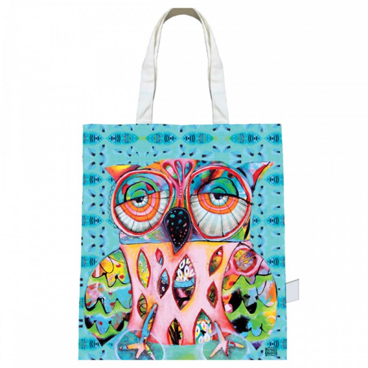 Sac coton / tote bag \'Allen Designs\' turquoise multicolore (chouette) - 43x39 cm - [R1954]