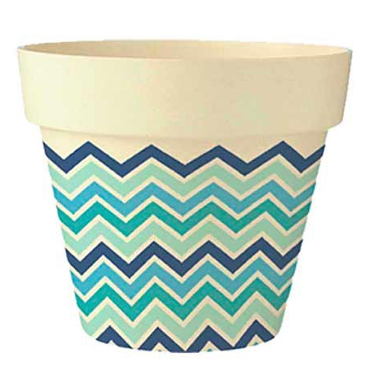 Cache-pot bambou \'Boho\' bleu vert beige -  17x18 cm - [Q6389]