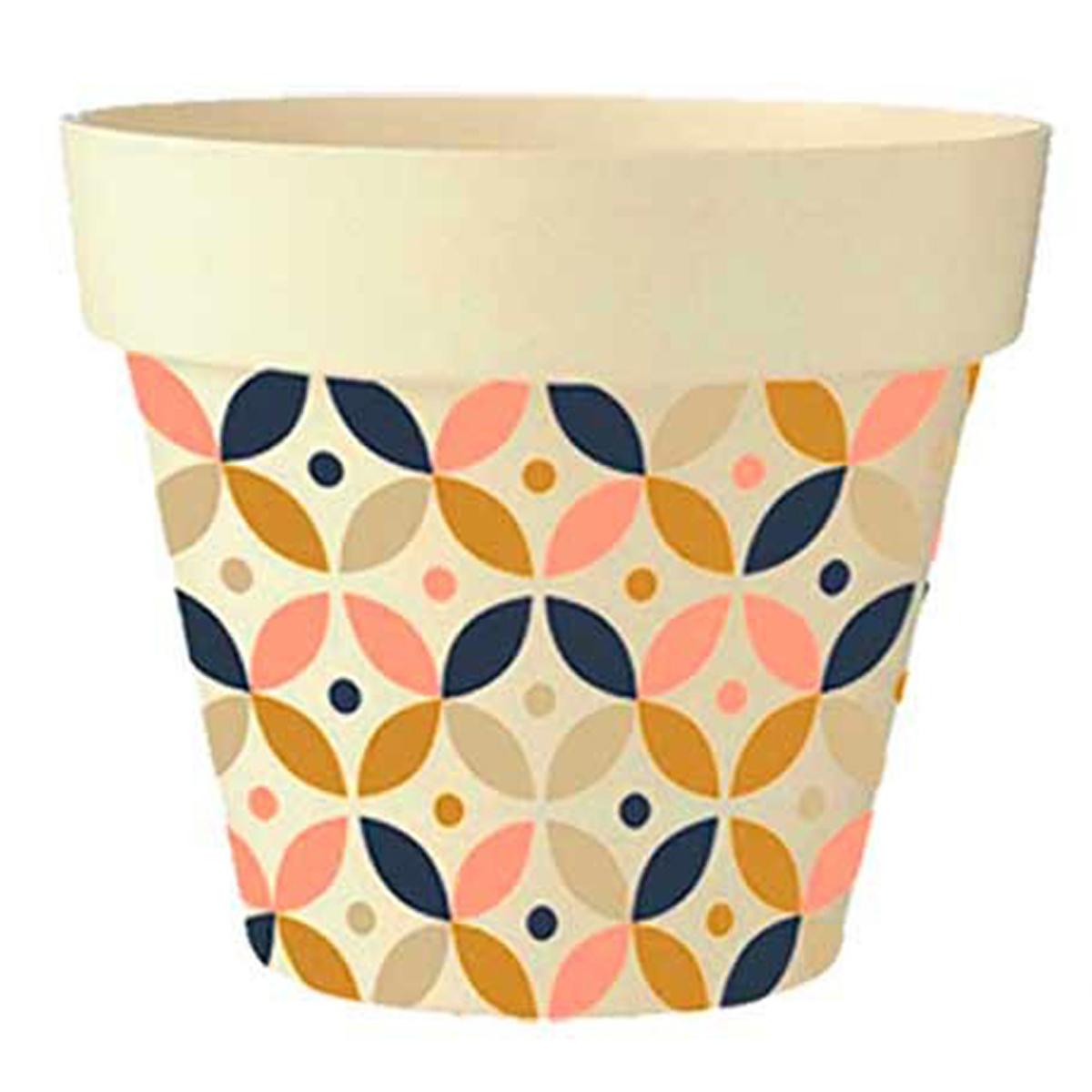 Cache-pot bambou \'Boho\' rose marron marine beige -  17x18 cm - [Q6391]
