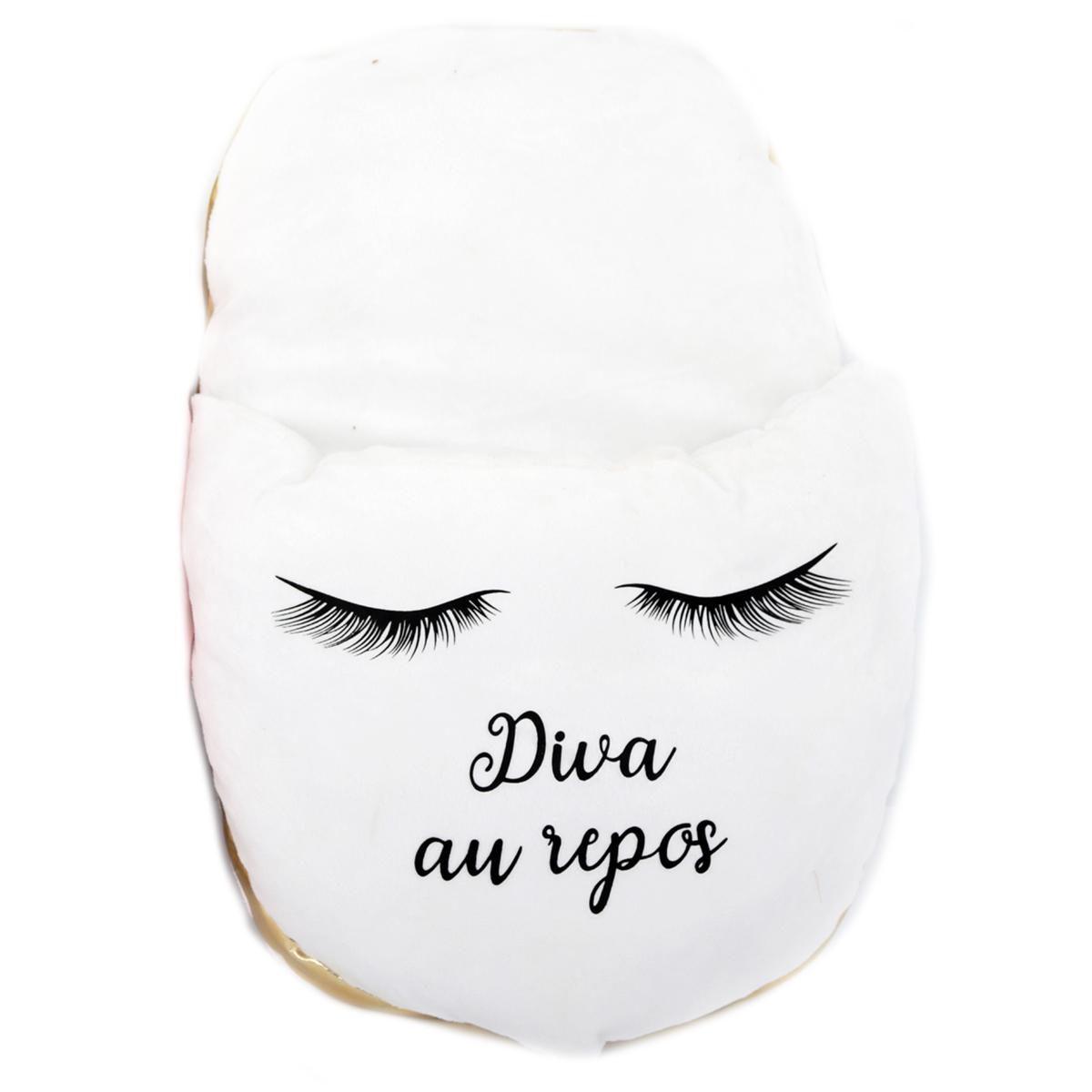 Géant chausson duo \'Diva - Yeux Endormis\' blanc (Diva au repos) - 40x26 cm - [R0924]