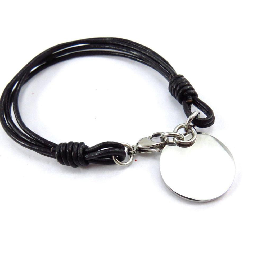 Bracelet acier \'Chorégraphie\' noir argenté - [J6860]