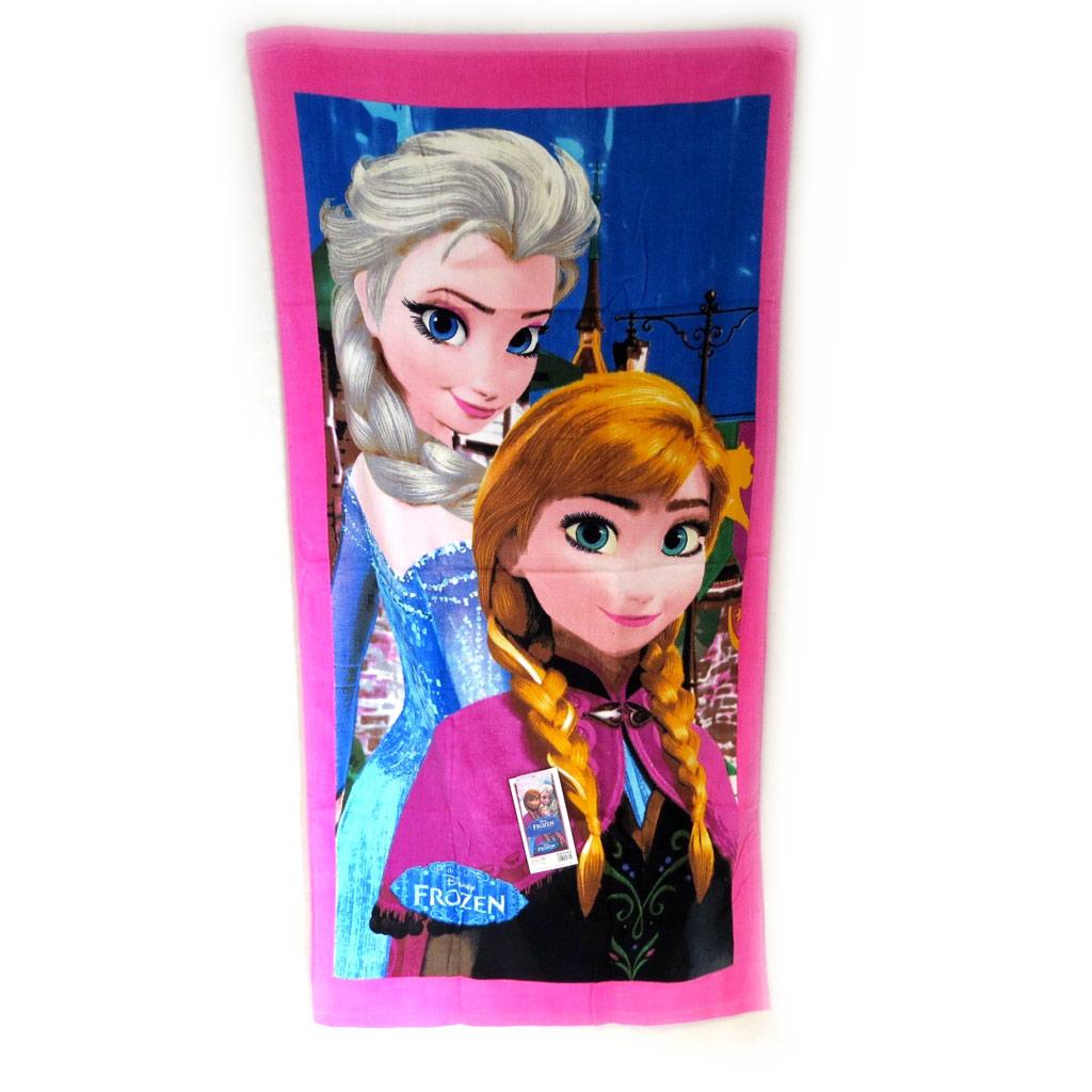 Drap de plage \'Frozen - Reine des Neiges\' rose bleu (70x140 cm) Les 2 soeurs - [M6388]