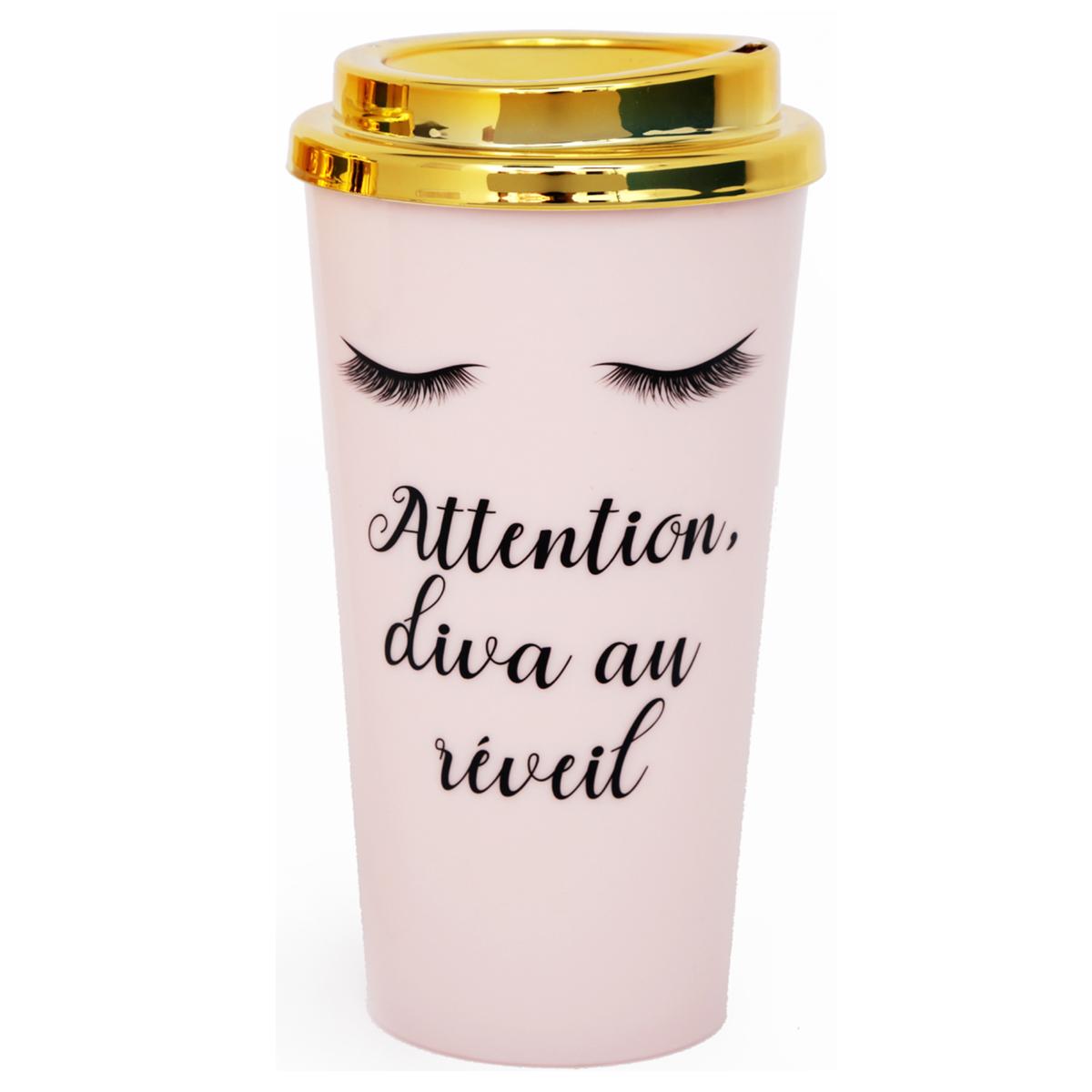 Mug de transport plastique \'Diva - Yeux Endormis\' rose doré (Attention, diva au réveil) - 175x7 cm (350 ml) - [R0928]