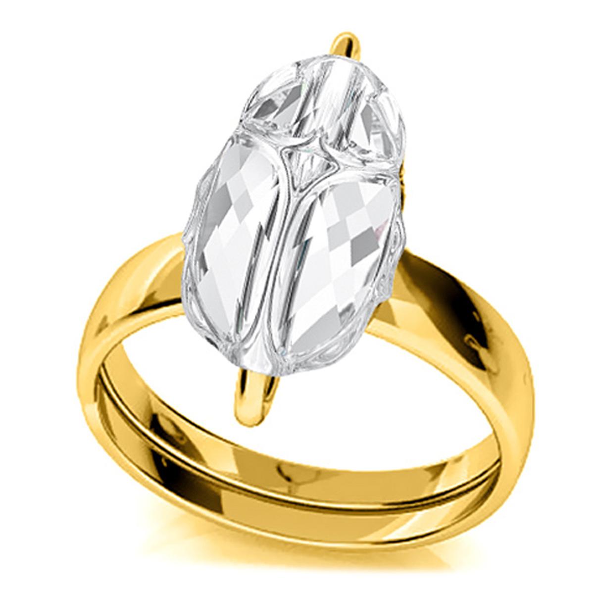 Bague argent artisanale \'Scarabée\' blanc doré - 12x8 mm - [R0933]