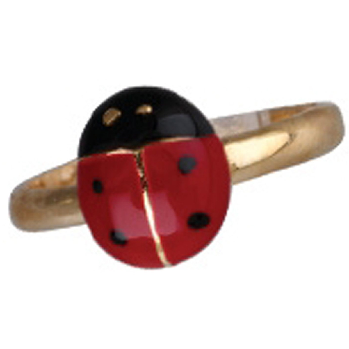 Bague Plaqué Or \'Coccinelle\' rouge noir doré - [N1752]