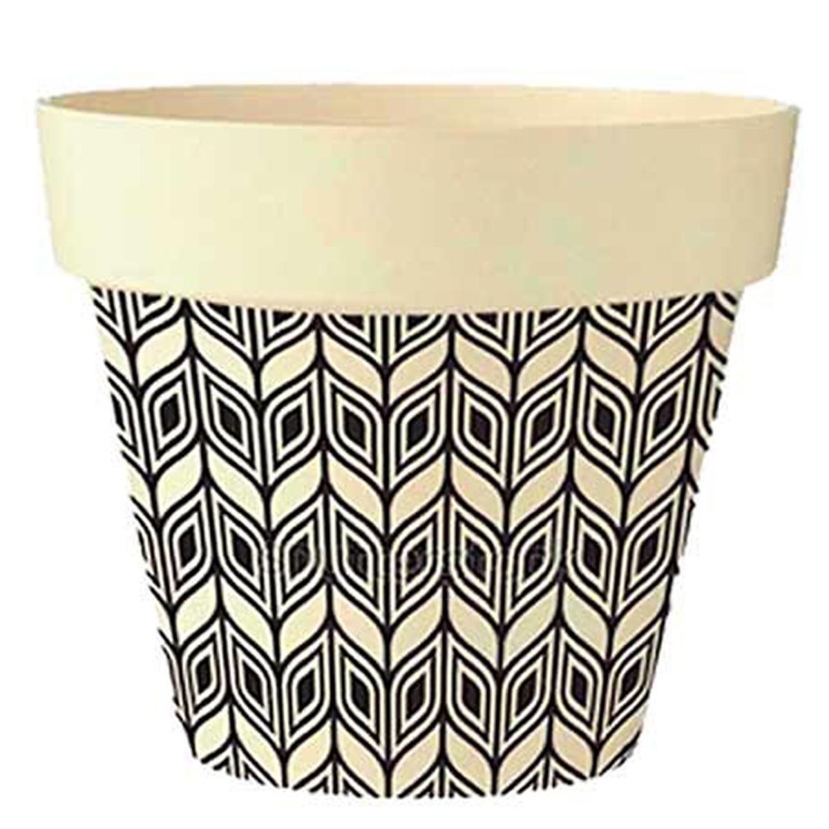 Cache-pot bambou \'Boho\' noir  beige -  17x18 cm - [Q6404]