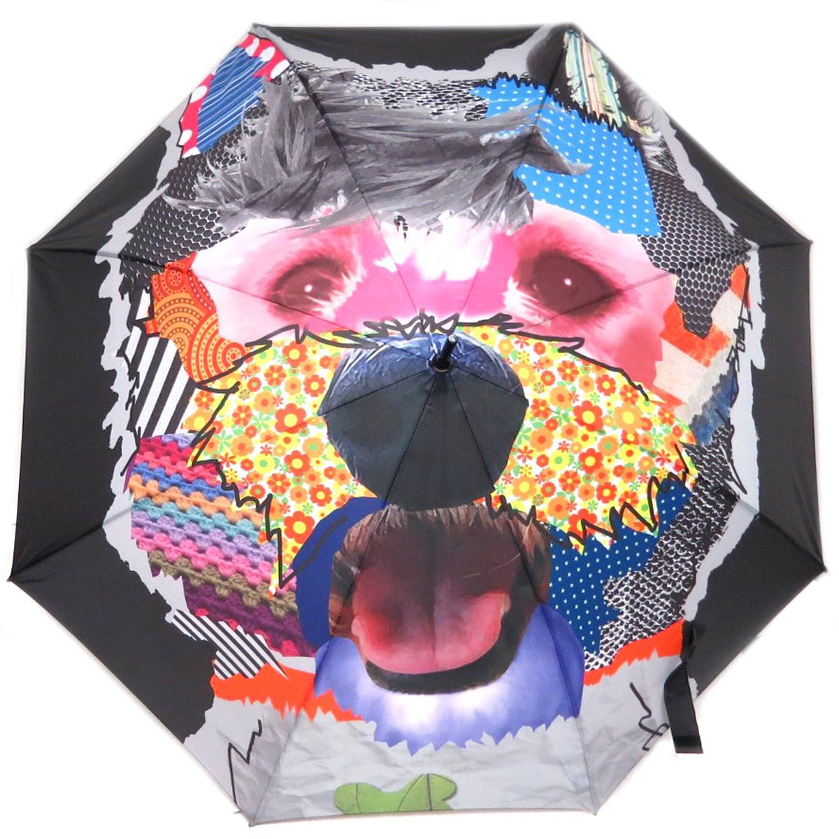 Parapluie canne \'Chien\' noir multicolore - 88 cm - [Q0162]