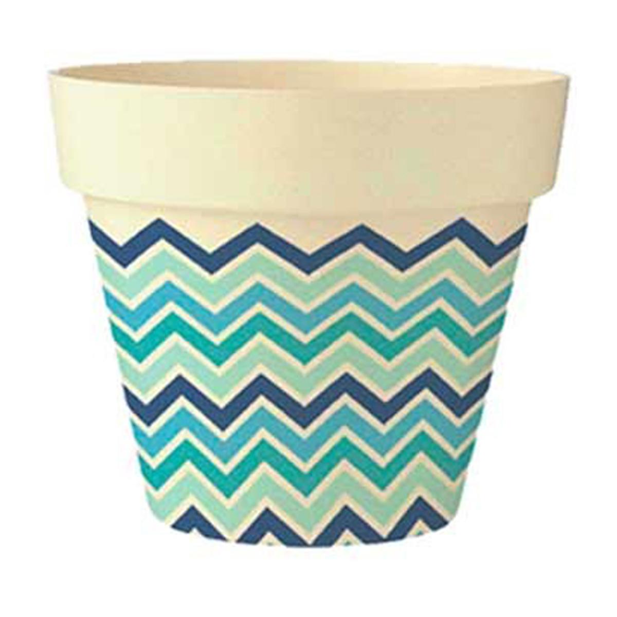 Cache-pot bambou \'Boho\' bleu vert beige -  135x15 cm - [Q6412]