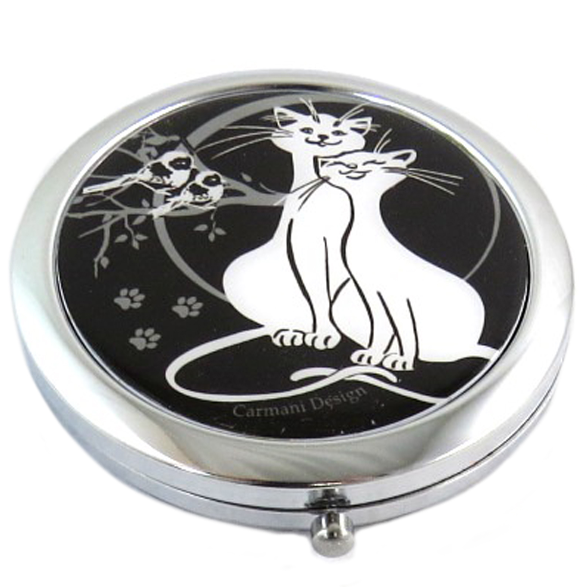 Miroir Créateur \'Les Chats\' noir blanc - 65 cm - [Q0171]