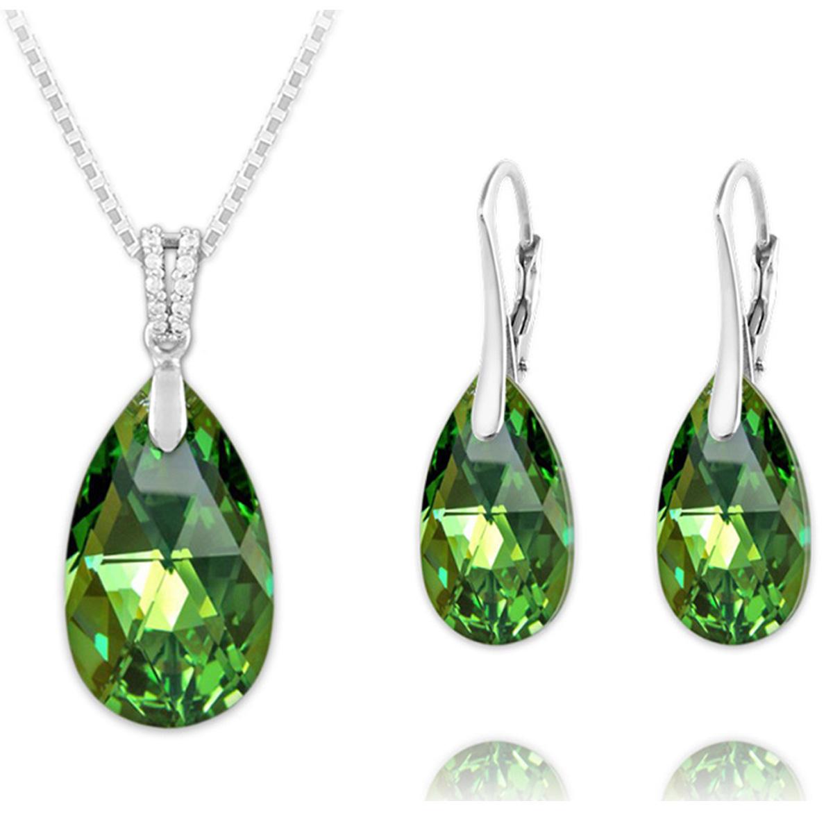 Parure argent artisanales \'Sissi\' vert péridot AB argenté (collier et boucles) - 15x9 mm - [R0946]